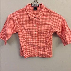 Lands End girls sz 4 3/4 sleeve gingham shirt
